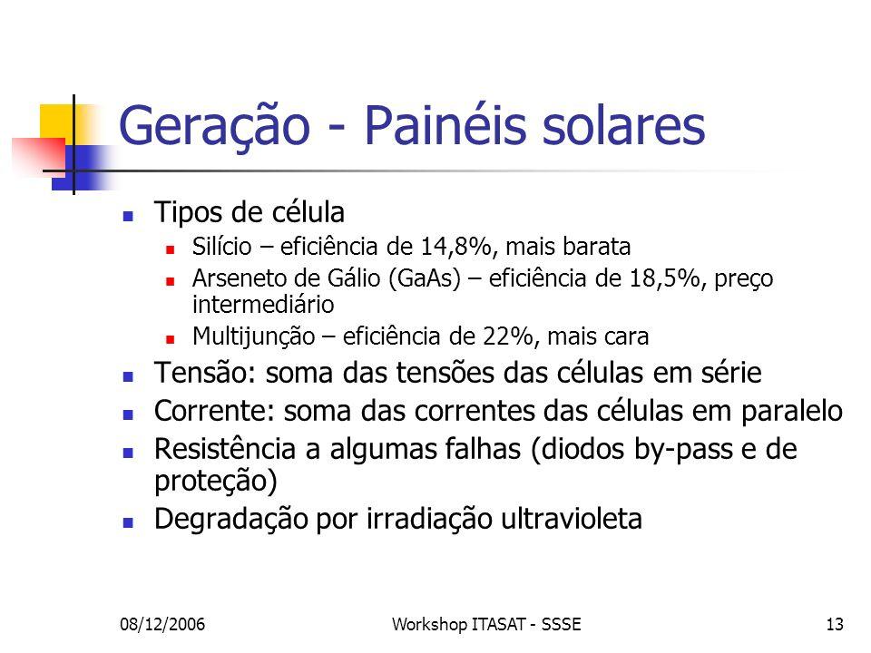 08/12/2006Workshop ITASAT - SSSE13 Geração - Painéis solares Tipos de célula Silício – eficiência de 14,8%, mais barata Arseneto de Gálio (GaAs) – efi
