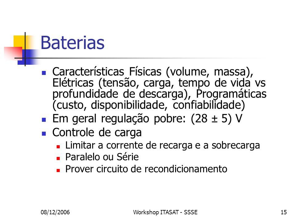 08/12/2006Workshop ITASAT - SSSE15 Características Físicas (volume, massa), Elétricas (tensão, carga, tempo de vida vs profundidade de descarga), Prog