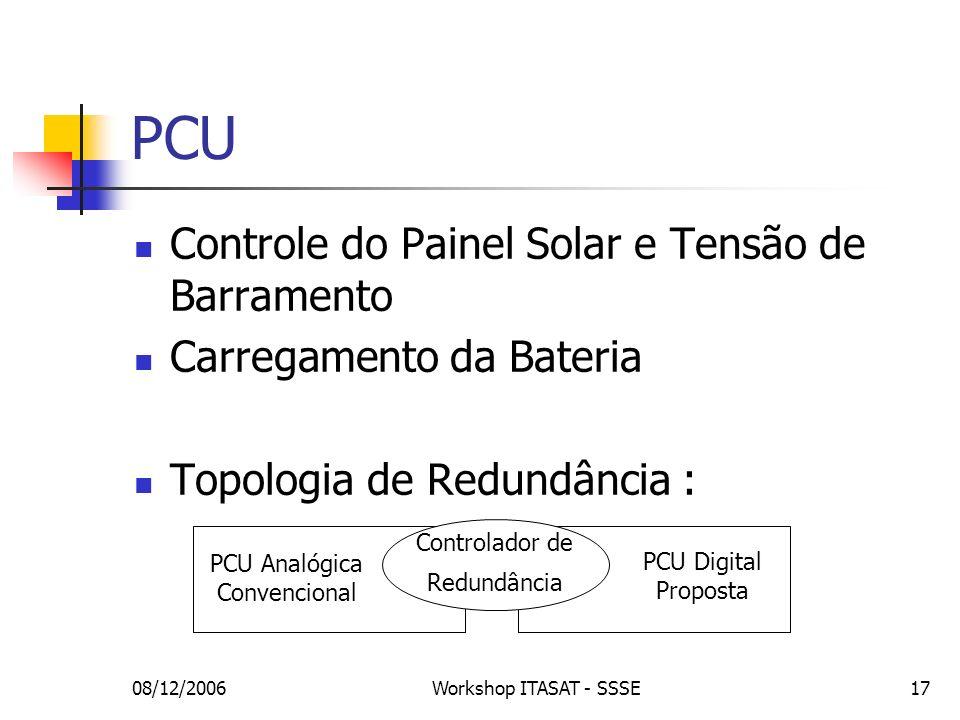 08/12/2006Workshop ITASAT - SSSE17 Controle do Painel Solar e Tensão de Barramento Carregamento da Bateria Topologia de Redundância : PCU PCU Analógic
