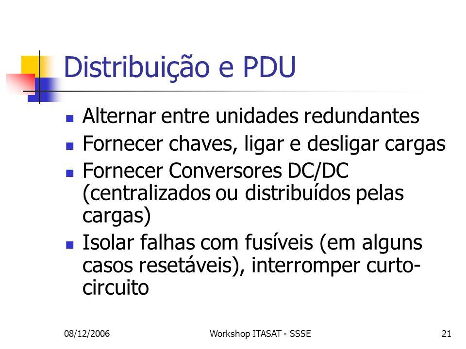08/12/2006Workshop ITASAT - SSSE21 Distribuição e PDU Alternar entre unidades redundantes Fornecer chaves, ligar e desligar cargas Fornecer Conversore
