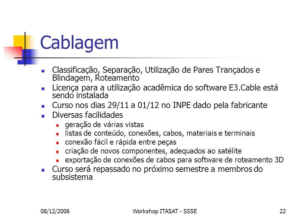 08/12/2006Workshop ITASAT - SSSE22 Cablagem Classificação, Separação, Utilização de Pares Trançados e Blindagem, Roteamento Licença para a utilização