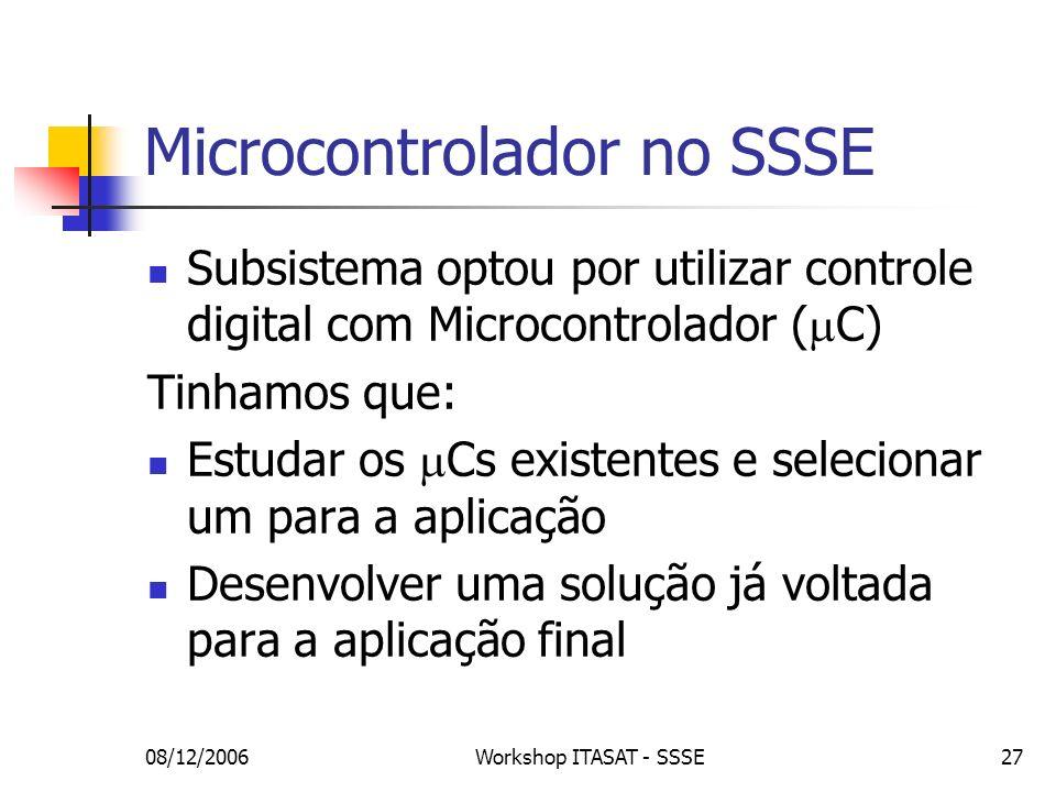 08/12/2006Workshop ITASAT - SSSE27 Microcontrolador no SSSE Subsistema optou por utilizar controle digital com Microcontrolador ( C) Tinhamos que: Est