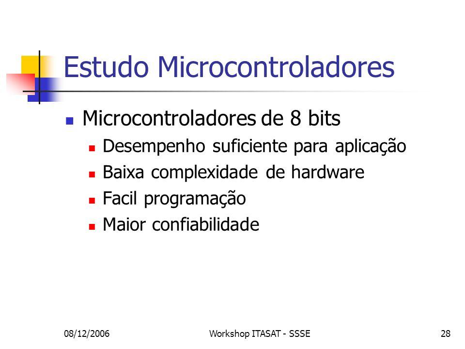08/12/2006Workshop ITASAT - SSSE28 Estudo Microcontroladores Microcontroladores de 8 bits Desempenho suficiente para aplicação Baixa complexidade de h