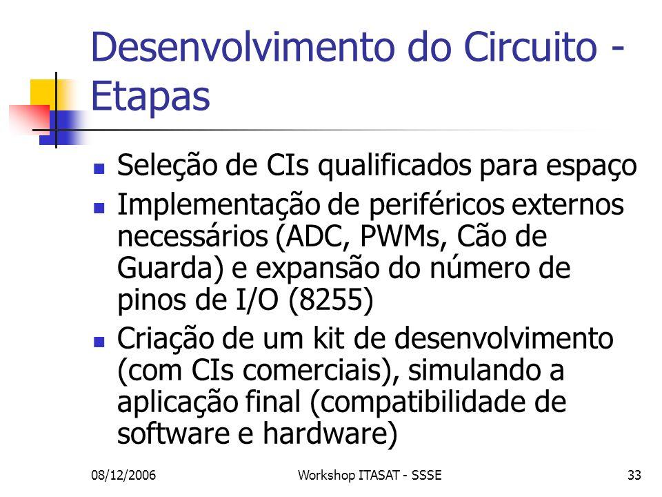 08/12/2006Workshop ITASAT - SSSE33 Desenvolvimento do Circuito - Etapas Seleção de CIs qualificados para espaço Implementação de periféricos externos