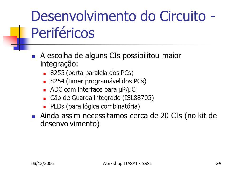 08/12/2006Workshop ITASAT - SSSE34 Desenvolvimento do Circuito - Periféricos A escolha de alguns CIs possibilitou maior integração: 8255 (porta parale