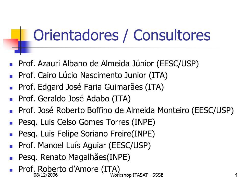 08/12/2006Workshop ITASAT - SSSE4 Orientadores / Consultores Prof. Azauri Albano de Almeida Júnior (EESC/USP) Prof. Cairo Lúcio Nascimento Junior (ITA
