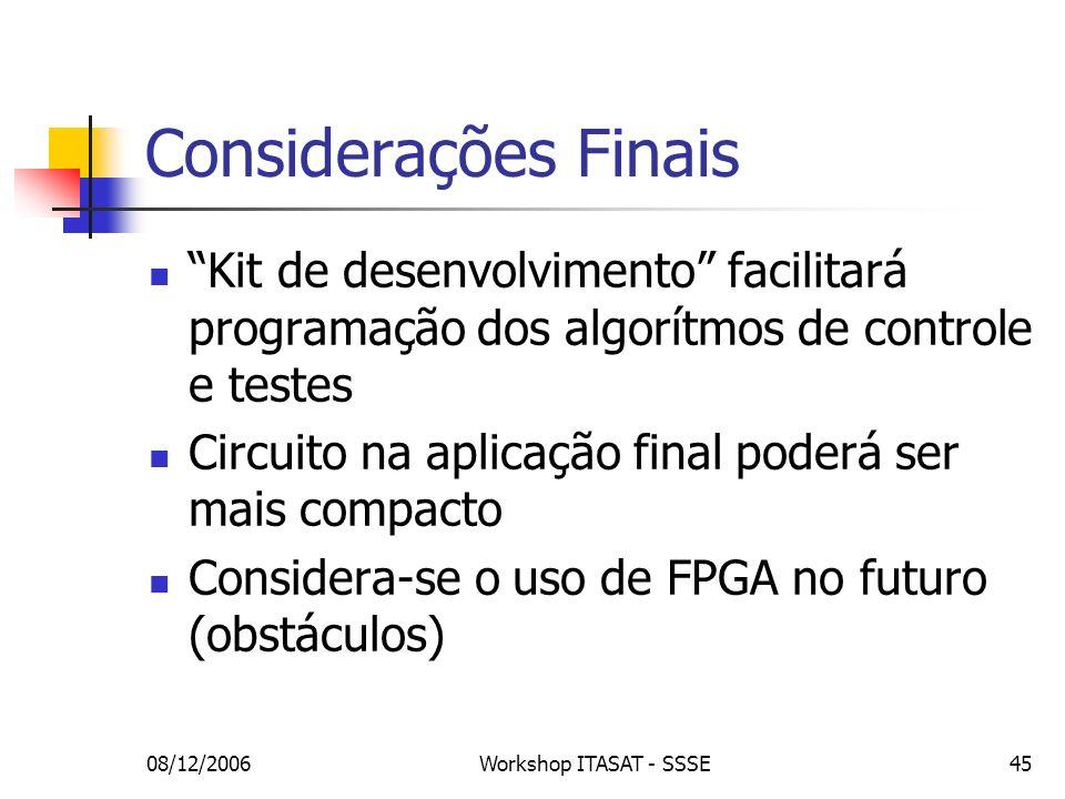 08/12/2006Workshop ITASAT - SSSE45 Considerações Finais Kit de desenvolvimento facilitará programação dos algorítmos de controle e testes Circuito na