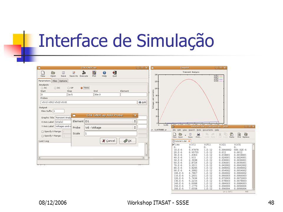 08/12/2006Workshop ITASAT - SSSE48 Interface de Simulação