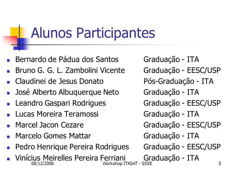 08/12/2006Workshop ITASAT - SSSE5 Alunos Participantes Bernardo de Pádua dos Santos Graduação - ITA Bruno G. G. L. Zambolini Vicente Graduação - EESC/