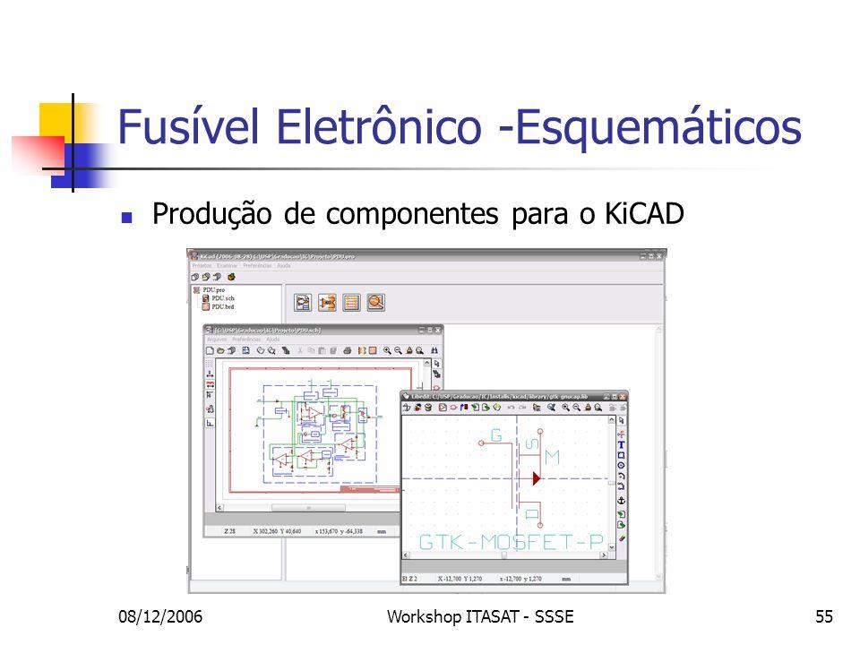 08/12/2006Workshop ITASAT - SSSE55 Fusível Eletrônico -Esquemáticos Produção de componentes para o KiCAD