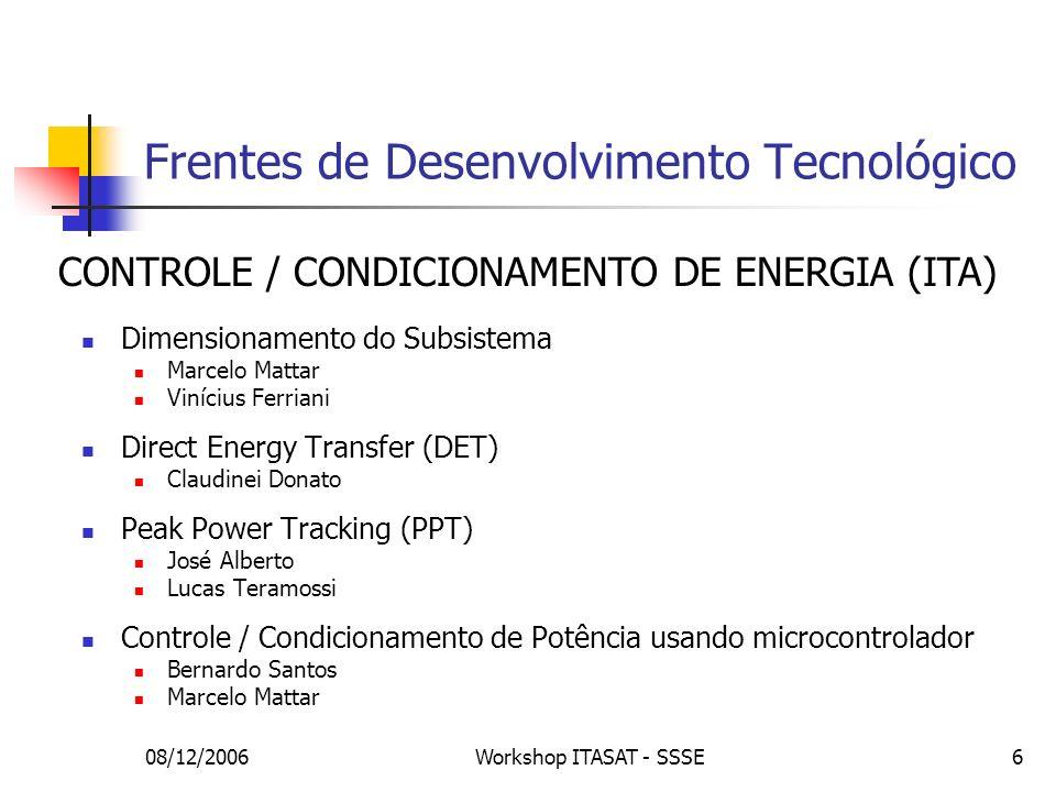 08/12/2006Workshop ITASAT - SSSE57 Sistemas de Testes Objetivo: fornecer parâmetros de desenvolvimento Projetos: Estudo de baterias para aplicações aeroespaciais Dispositivo de carga/descarga Análise de vida útil Simulador de painel solar Disponibilizar energia coerente às condições aeroespaciais