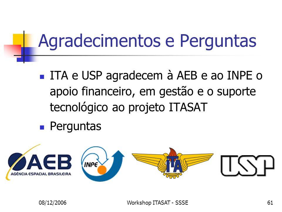 08/12/2006Workshop ITASAT - SSSE61 Agradecimentos e Perguntas ITA e USP agradecem à AEB e ao INPE o apoio financeiro, em gestão e o suporte tecnológic
