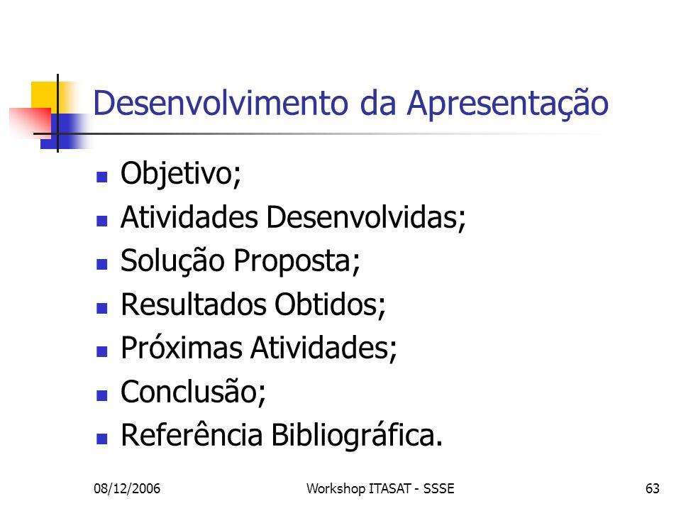 08/12/2006Workshop ITASAT - SSSE63 Desenvolvimento da Apresentação Objetivo; Atividades Desenvolvidas; Solução Proposta; Resultados Obtidos; Próximas