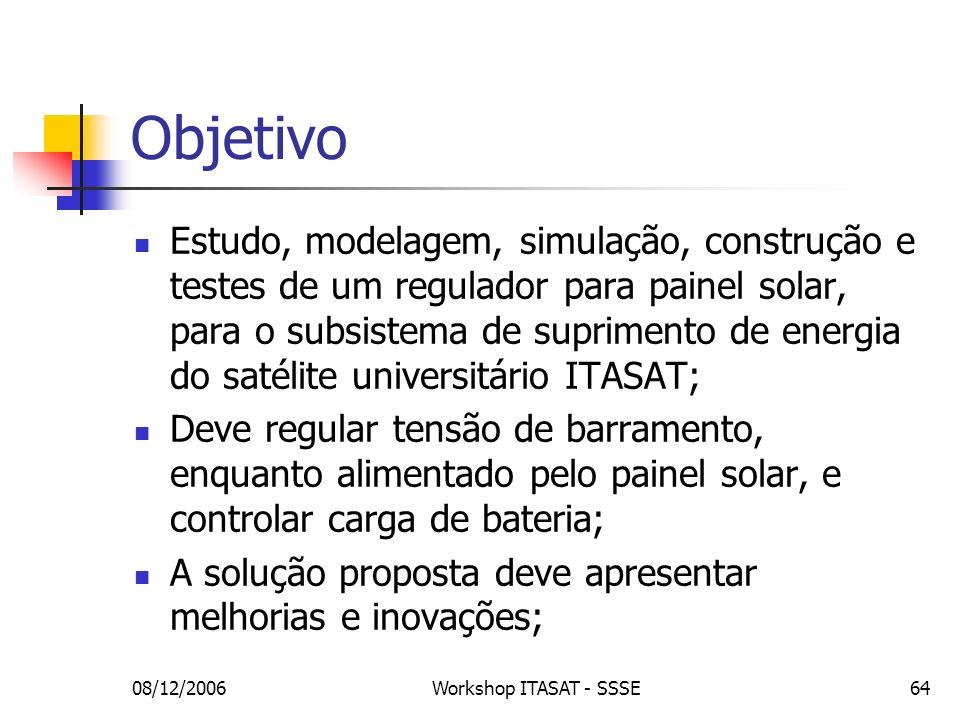 08/12/2006Workshop ITASAT - SSSE64 Objetivo Estudo, modelagem, simulação, construção e testes de um regulador para painel solar, para o subsistema de