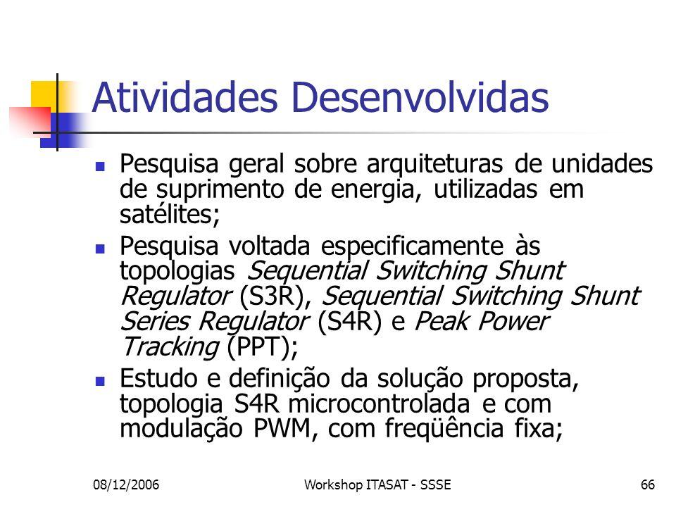 08/12/2006Workshop ITASAT - SSSE66 Atividades Desenvolvidas Pesquisa geral sobre arquiteturas de unidades de suprimento de energia, utilizadas em saté
