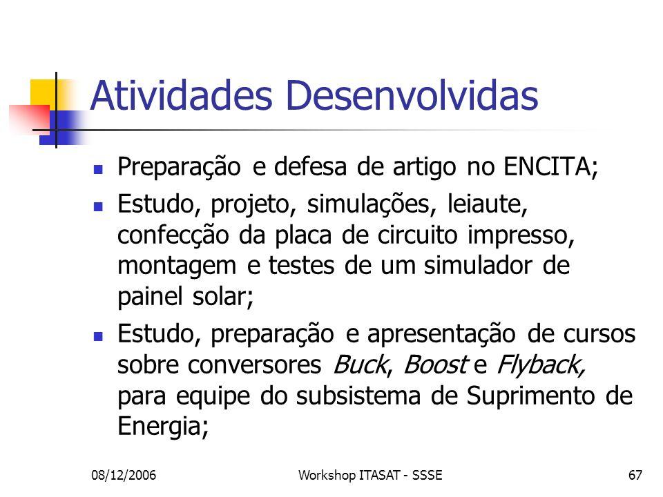 08/12/2006Workshop ITASAT - SSSE67 Atividades Desenvolvidas Preparação e defesa de artigo no ENCITA; Estudo, projeto, simulações, leiaute, confecção d