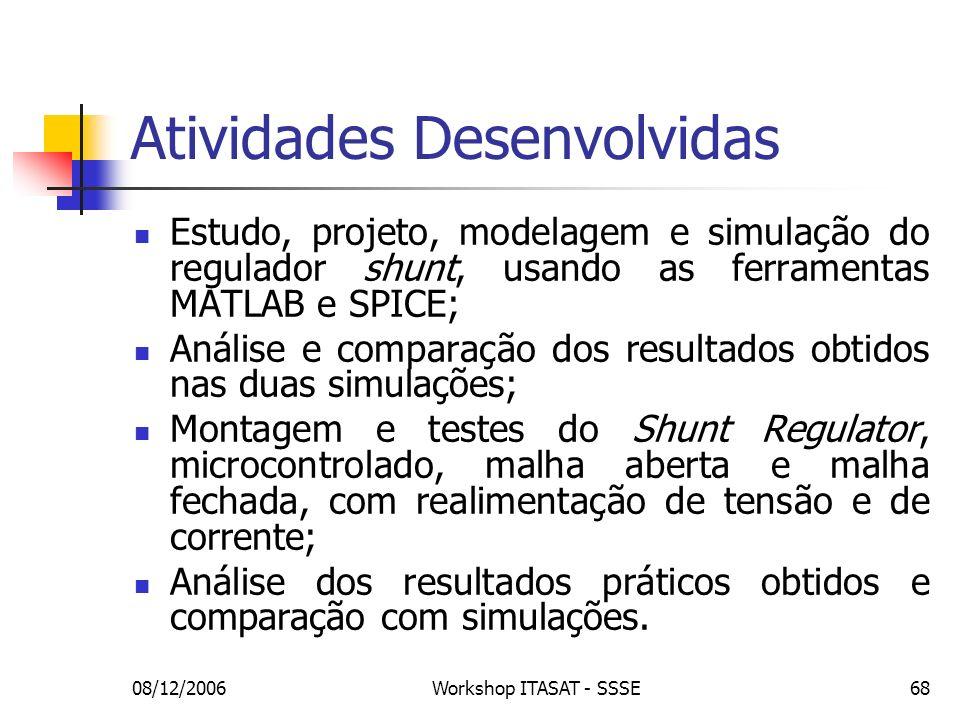 08/12/2006Workshop ITASAT - SSSE68 Atividades Desenvolvidas Estudo, projeto, modelagem e simulação do regulador shunt, usando as ferramentas MATLAB e