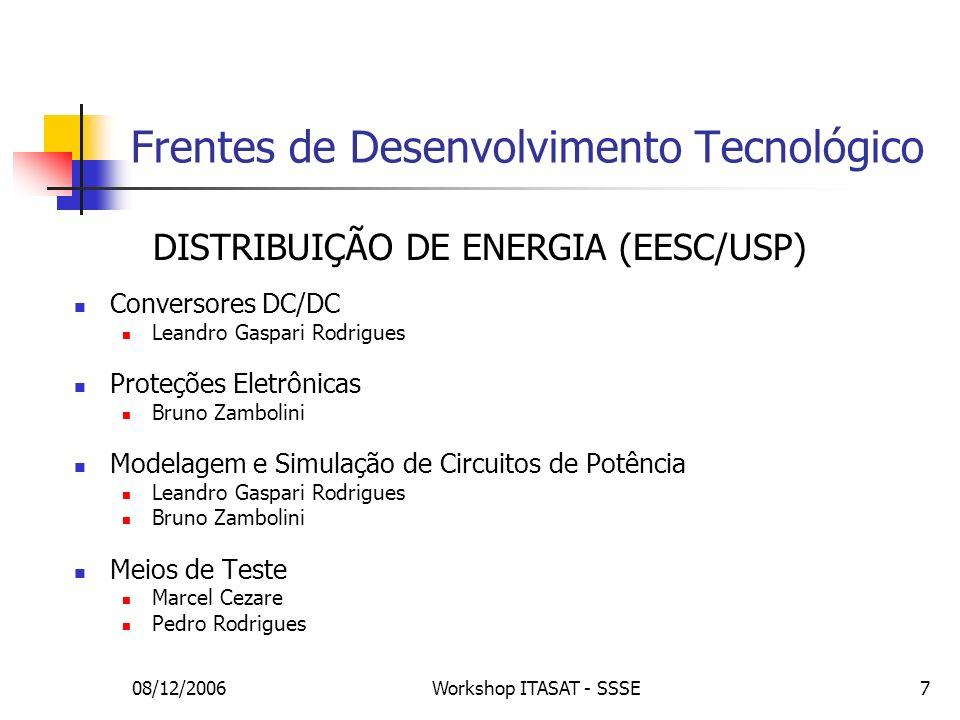 08/12/2006Workshop ITASAT - SSSE18 Topologias Topologia de Transmissão DET – Direct Energy Transfer PPT – Peak Power Tracking Tipo de Regulação Não regulado: tensão da bateria Quase-Regulado: regulado apenas na carga da bateria Regulado: uso de BCR e BDR