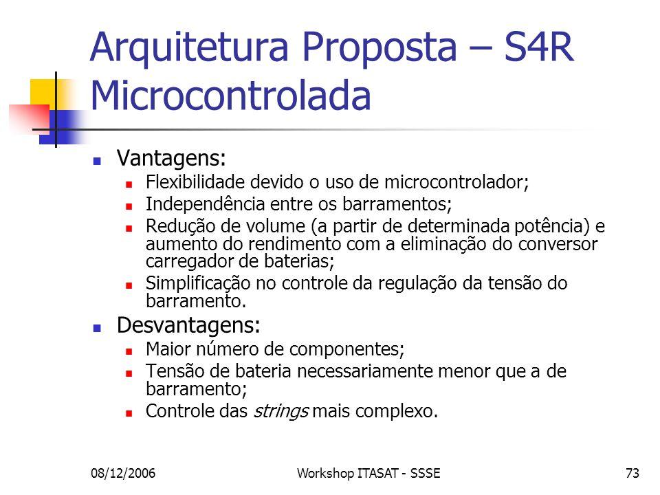 08/12/2006Workshop ITASAT - SSSE73 Arquitetura Proposta – S4R Microcontrolada Vantagens: Flexibilidade devido o uso de microcontrolador; Independência