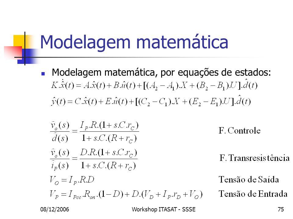08/12/2006Workshop ITASAT - SSSE75 Modelagem matemática Modelagem matemática, por equações de estados: