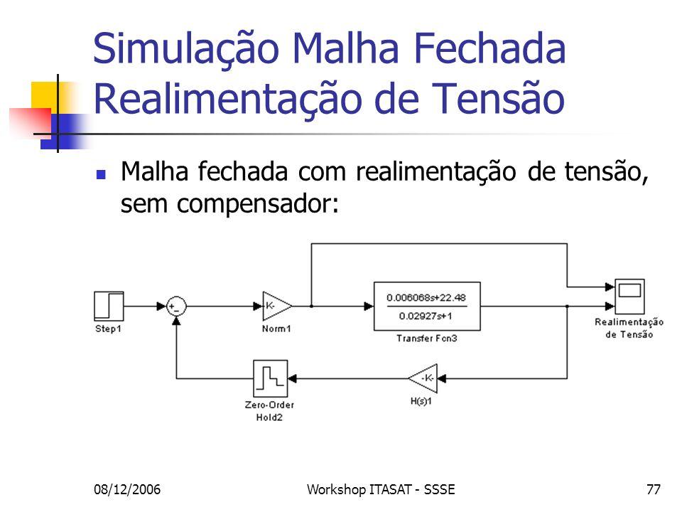 08/12/2006Workshop ITASAT - SSSE77 Simulação Malha Fechada Realimentação de Tensão Malha fechada com realimentação de tensão, sem compensador: