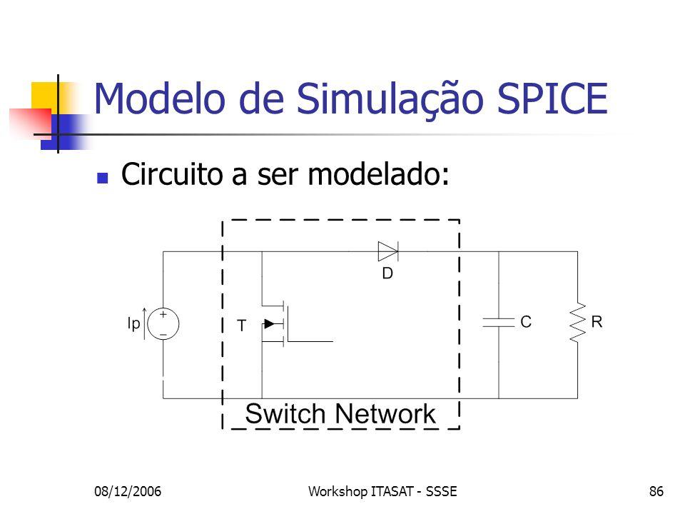 08/12/2006Workshop ITASAT - SSSE86 Modelo de Simulação SPICE Circuito a ser modelado: