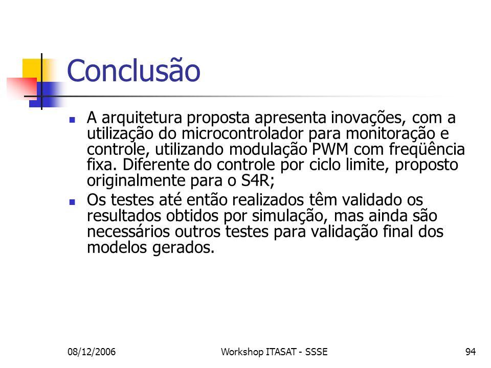 08/12/2006Workshop ITASAT - SSSE94 Conclusão A arquitetura proposta apresenta inovações, com a utilização do microcontrolador para monitoração e contr
