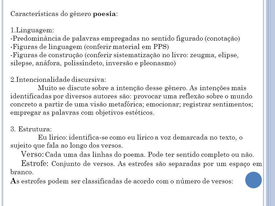 Características do gênero poesia : 1.Linguagem: -Predominância de palavras empregadas no sentido figurado (conotação) -Figuras de linguagem (conferir