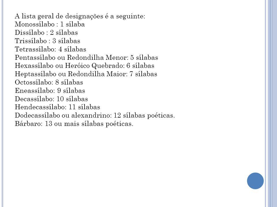 A lista geral de designações é a seguinte: Monossílabo : 1 sílaba Dissílabo : 2 sílabas Trissílabo : 3 sílabas Tetrassílabo: 4 sílabas Pentassílabo ou