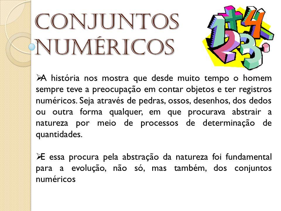 Conjuntos numéricos A história nos mostra que desde muito tempo o homem sempre teve a preocupação em contar objetos e ter registros numéricos. Seja at