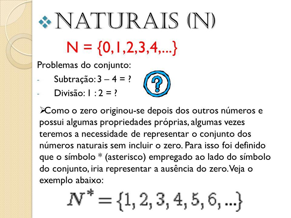 Naturais (N) Naturais (N) N = {0,1,2,3,4,...} Problemas do conjunto: - Subtração: 3 – 4 = ? - Divisão: 1 : 2 = ? Como o zero originou-se depois dos ou