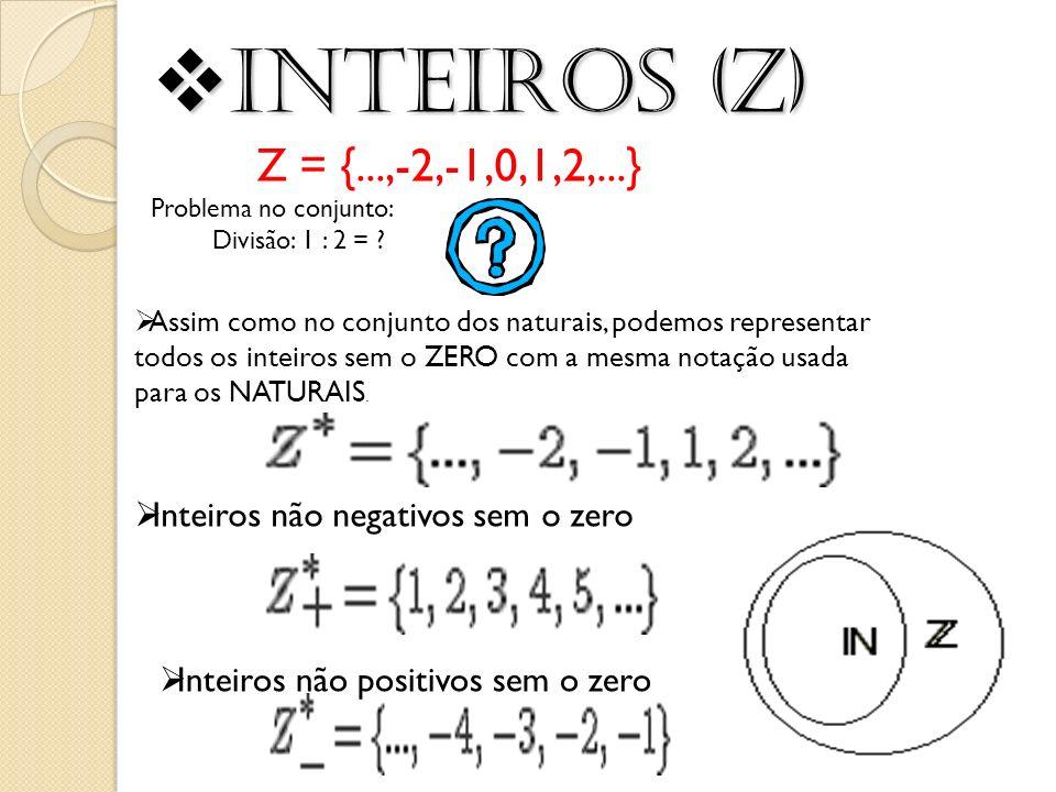 Inteiros (Z) Inteiros (Z) Z = {...,-2,-1,0,1,2,...} Problema no conjunto: Divisão: 1 : 2 = ? Assim como no conjunto dos naturais, podemos representar