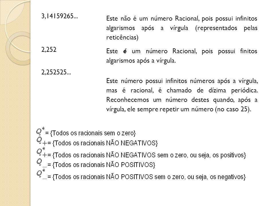 3,14159265... Este não é um número Racional, pois possui infinitos algarismos após a vírgula (representados pelas reticências) 2,252 Este é um número