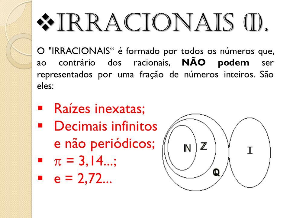 Raízes inexatas; Decimais infinitos e não periódicos; = 3,14...; e = 2,72... O