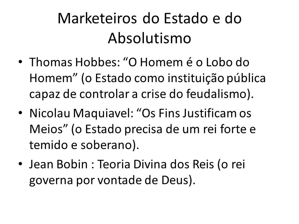 Marketeiros do Estado e do Absolutismo Thomas Hobbes: O Homem é o Lobo do Homem (o Estado como instituição pública capaz de controlar a crise do feuda