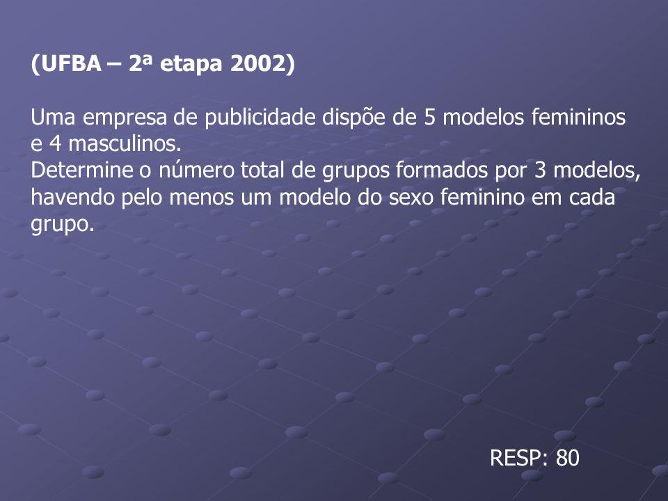 (UFBA – 2ª etapa 2002) Uma empresa de publicidade dispõe de 5 modelos femininos e 4 masculinos. Determine o número total de grupos formados por 3 mode