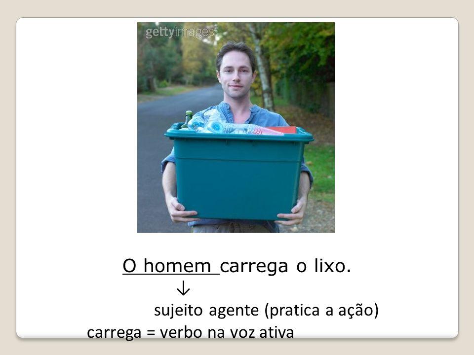 O homem carrega o lixo. sujeito agente (pratica a ação) carrega = verbo na voz ativa