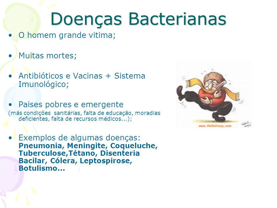 Doenças Bacterianas O homem grande vitima; Muitas mortes; Antibióticos e Vacinas + Sistema Imunológico; Paises pobres e emergente (más condições sanitárias, falta de educação, moradias deficientes, falta de recursos médicos...); Exemplos de algumas doenças: Pneumonia, Meningite, Coqueluche, Tuberculose,Tétano, Disenteria Bacilar, Cólera, Leptospirose, Botulismo...