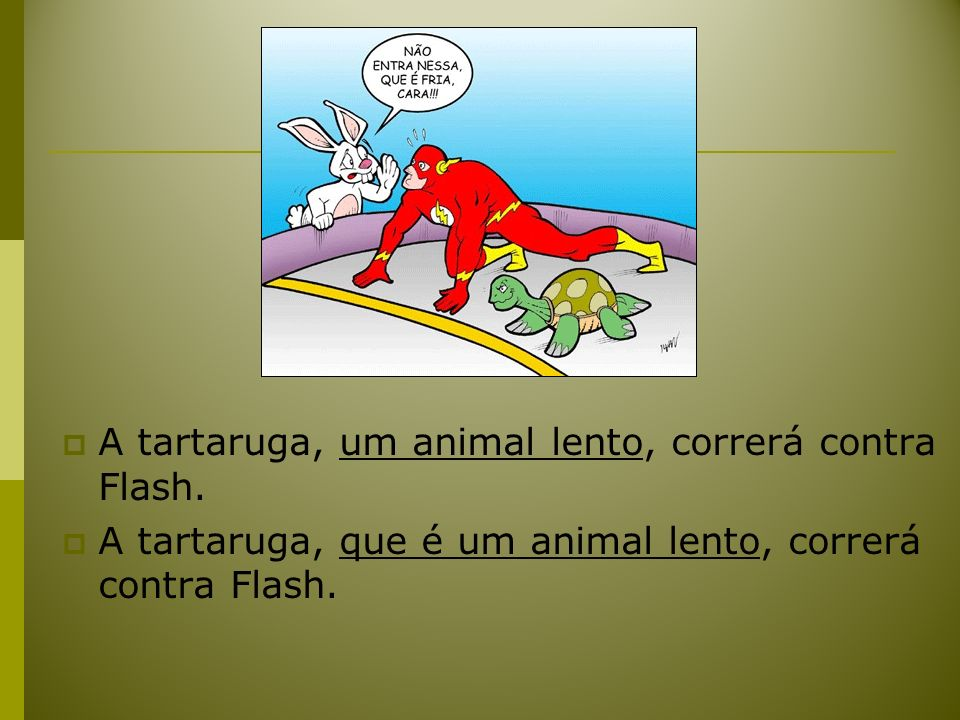 A tartaruga, um animal lento, correrá contra Flash. A tartaruga, que é um animal lento, correrá contra Flash.