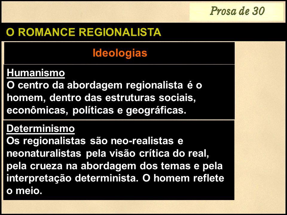 O ROMANCE REGIONALISTA Humanismo O centro da abordagem regionalista é o homem, dentro das estruturas sociais, econômicas, políticas e geográficas. Ide
