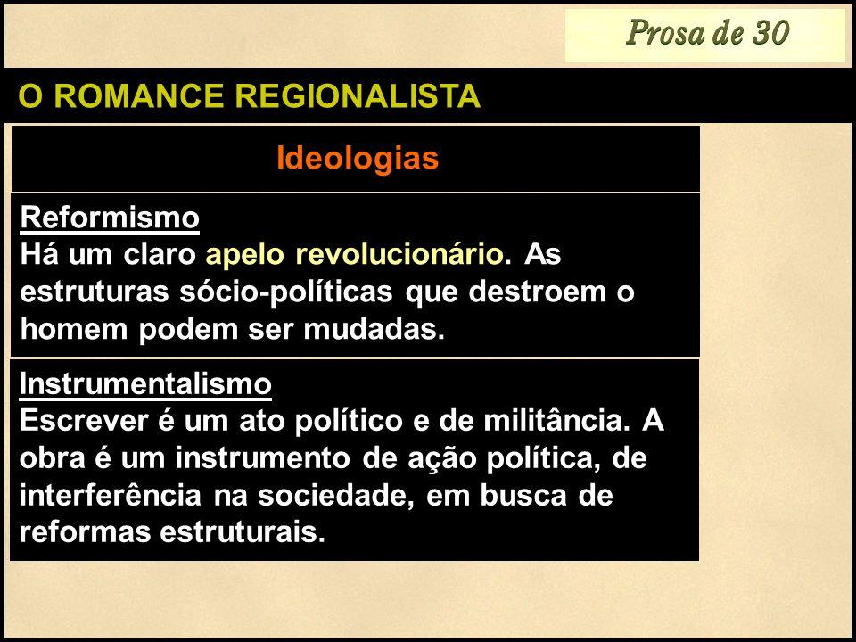 O ROMANCE REGIONALISTA Reformismo Há um claro apelo revolucionário. As estruturas sócio-políticas que destroem o homem podem ser mudadas. Ideologias P