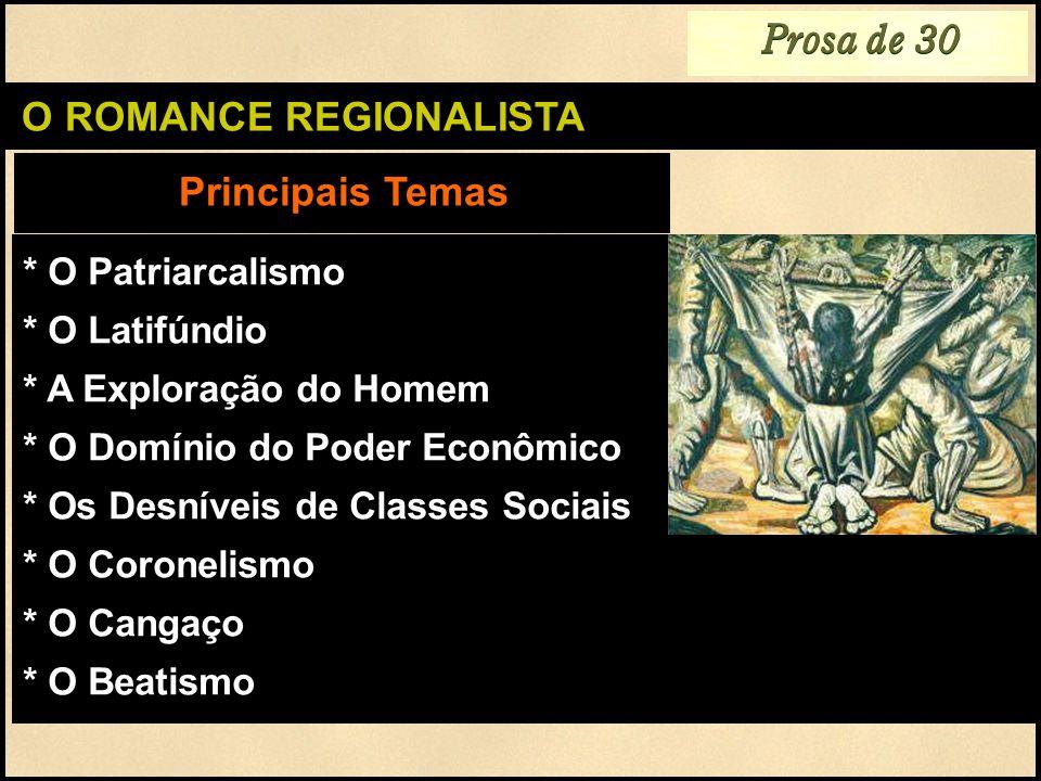 O ROMANCE REGIONALISTA Principais Temas Prosa de 30 * O Patriarcalismo * O Latifúndio * A Exploração do Homem * O Domínio do Poder Econômico * Os Desn
