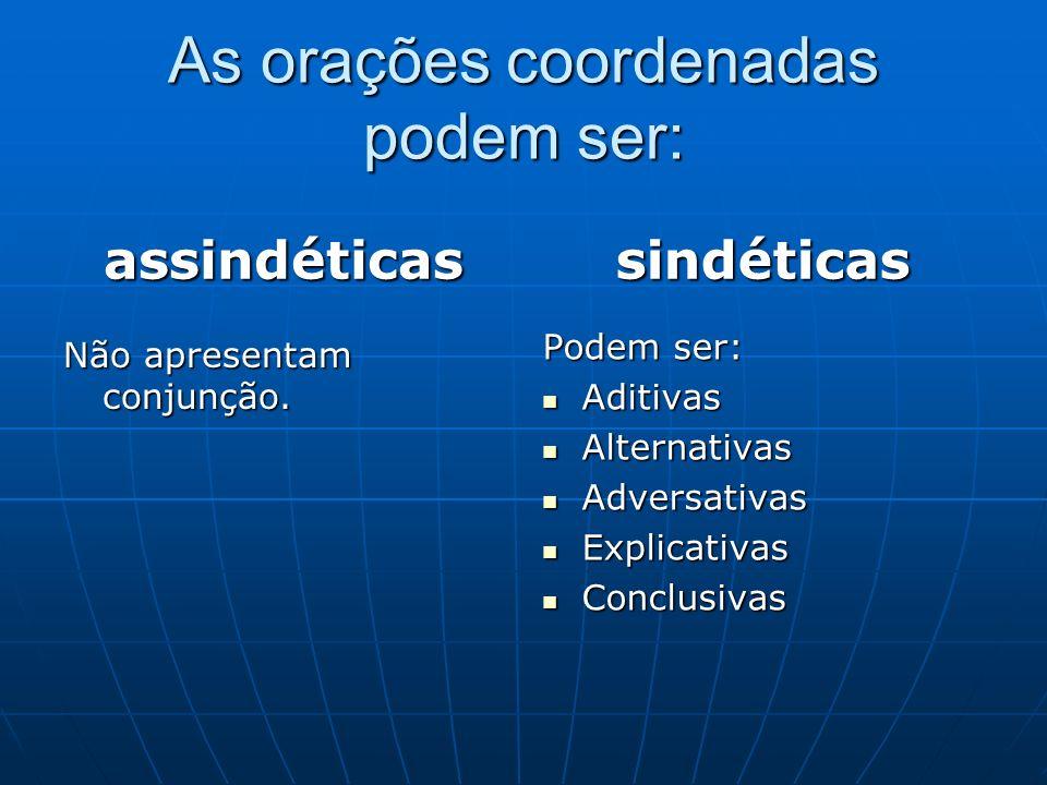 As orações coordenadas podem ser: assindéticas Não apresentam conjunção. sindéticas Podem ser: Aditivas Aditivas Alternativas Alternativas Adversativa