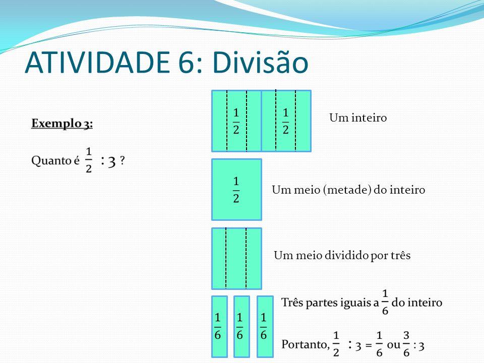 ATIVIDADE 6: Divisão Um inteiro Um meio (metade) do inteiro Um meio dividido por três