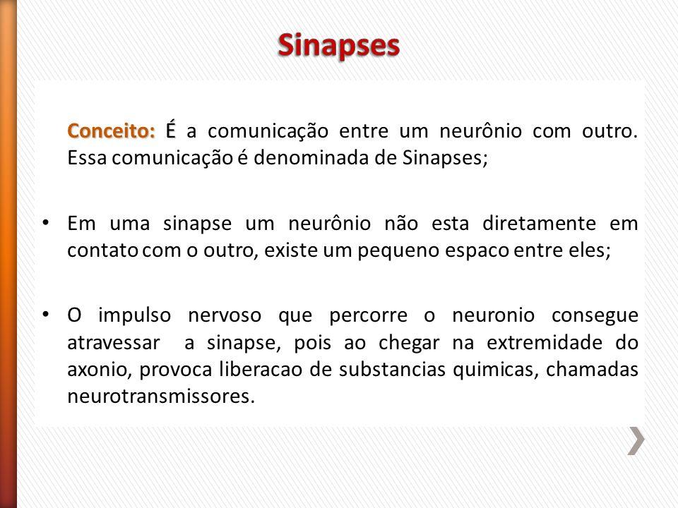 Conceito: É Conceito: É a comunicação entre um neurônio com outro. Essa comunicação é denominada de Sinapses; Em uma sinapse um neurônio não esta dire