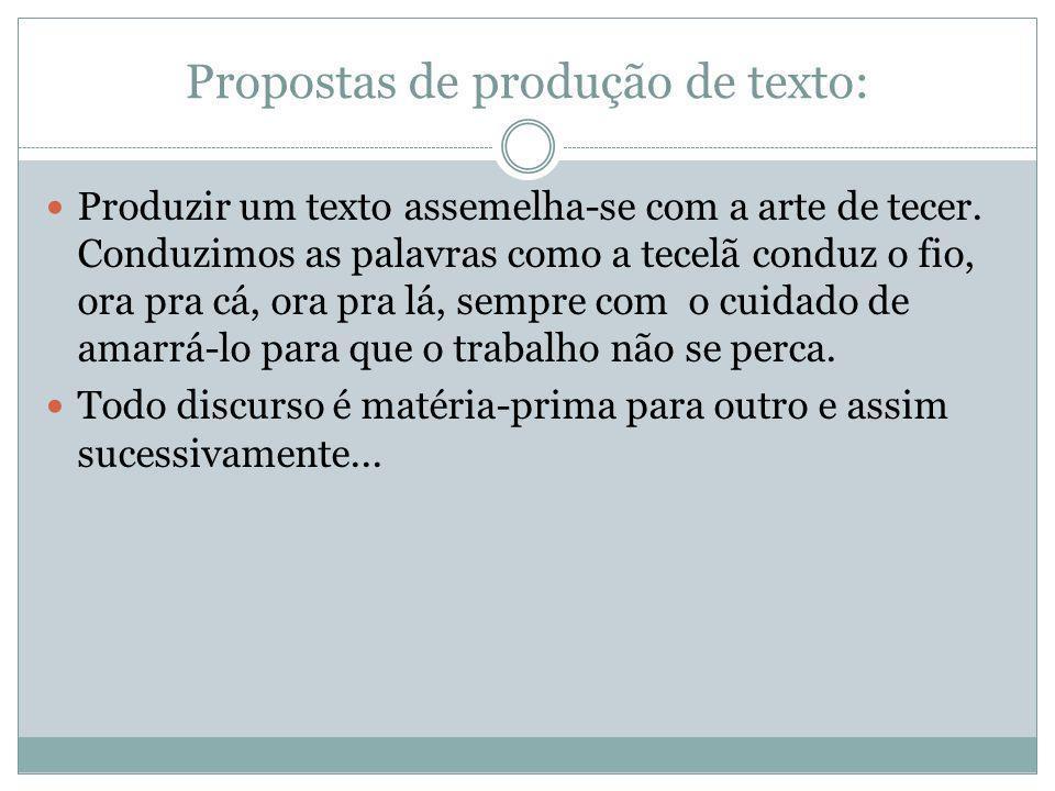 Propostas de produção de texto: Produzir um texto assemelha-se com a arte de tecer.