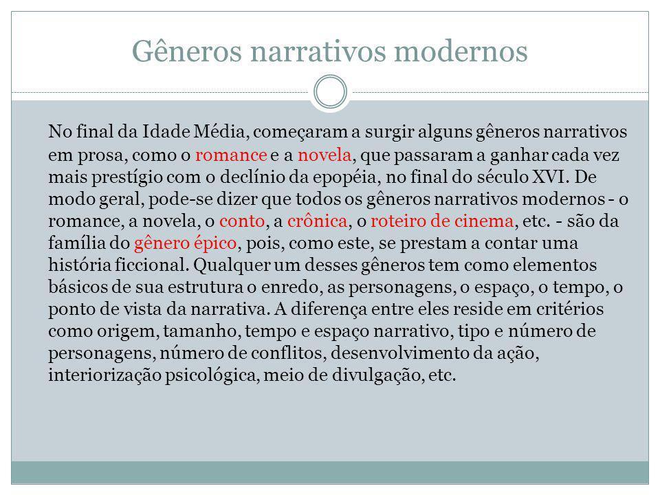 Gêneros narrativos modernos No final da Idade Média, começaram a surgir alguns gêneros narrativos em prosa, como o romance e a novela, que passaram a ganhar cada vez mais prestígio com o declínio da epopéia, no final do século XVI.