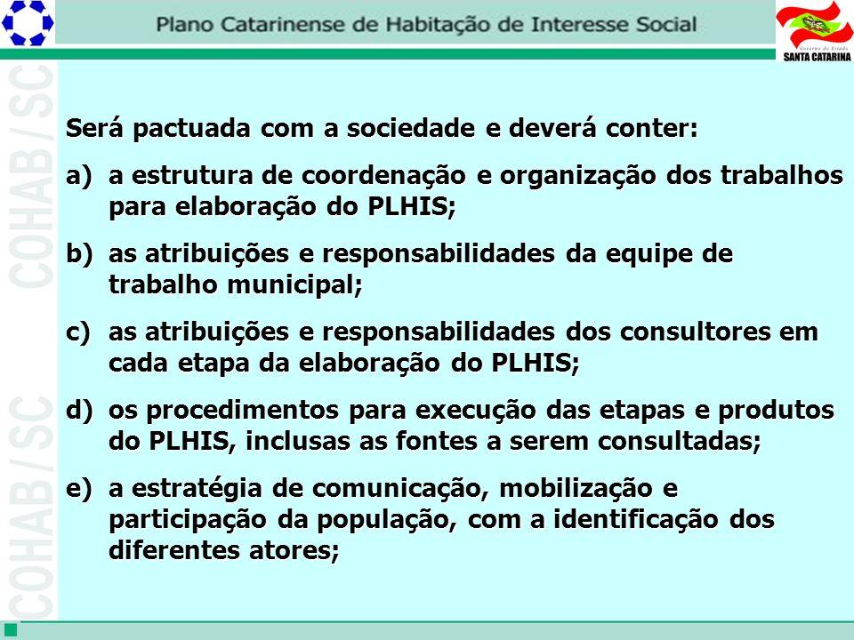 Será pactuada com a sociedade e deverá conter: a)a estrutura de coordenação e organização dos trabalhos para elaboração do PLHIS; b)as atribuições e responsabilidades da equipe de trabalho municipal; c)as atribuições e responsabilidades dos consultores em cada etapa da elaboração do PLHIS; d)os procedimentos para execução das etapas e produtos do PLHIS, inclusas as fontes a serem consultadas; e)a estratégia de comunicação, mobilização e participação da população, com a identificação dos diferentes atores;