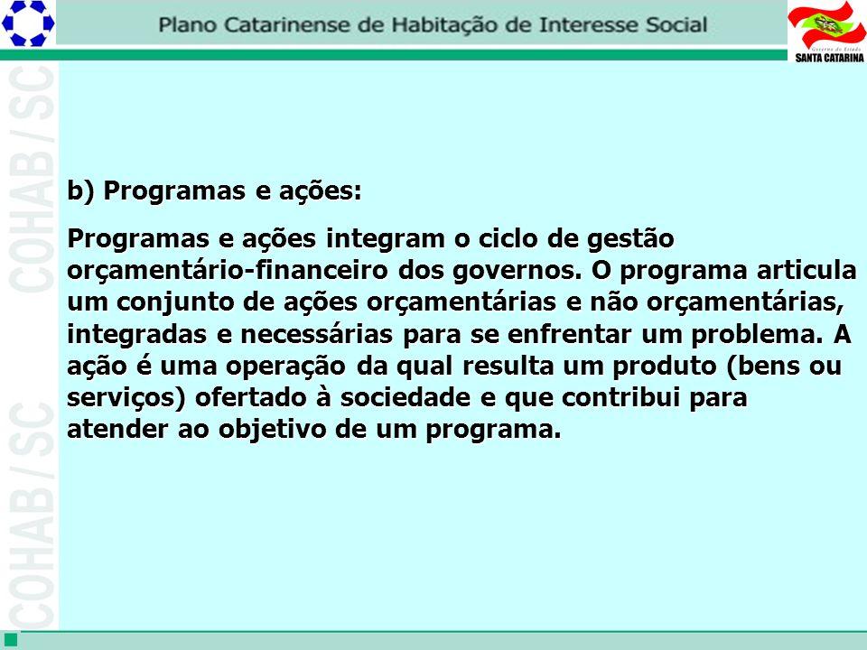 b) Programas e ações: Programas e ações integram o ciclo de gestão orçamentário-financeiro dos governos.