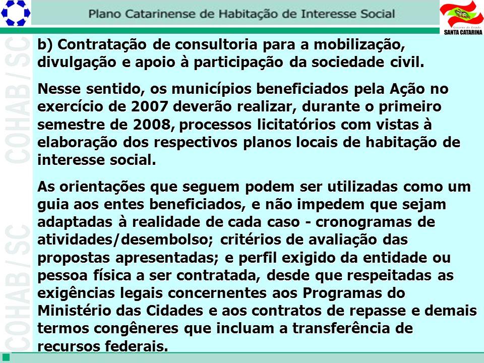b) Contratação de consultoria para a mobilização, divulgação e apoio à participação da sociedade civil.